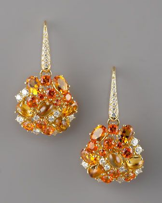 Roberto Coin Fireworks Earrings, white diamonds, orange sapphires, and citrine - Neiman Marcus