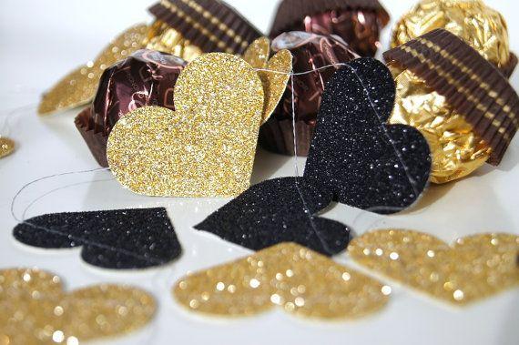 Guirnalda de papel brillo oro y negro y negro ducha nupcial