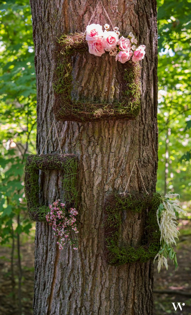Hang these mossy frames at your wedding ceremony or reception. Your woodland theme will pop with this great decor accessory.