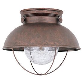 Sea Gull Lighting 11-1/4-in Weathered Copper Outdoor Flush Mount Light (Someday these will be on my porch.) $114