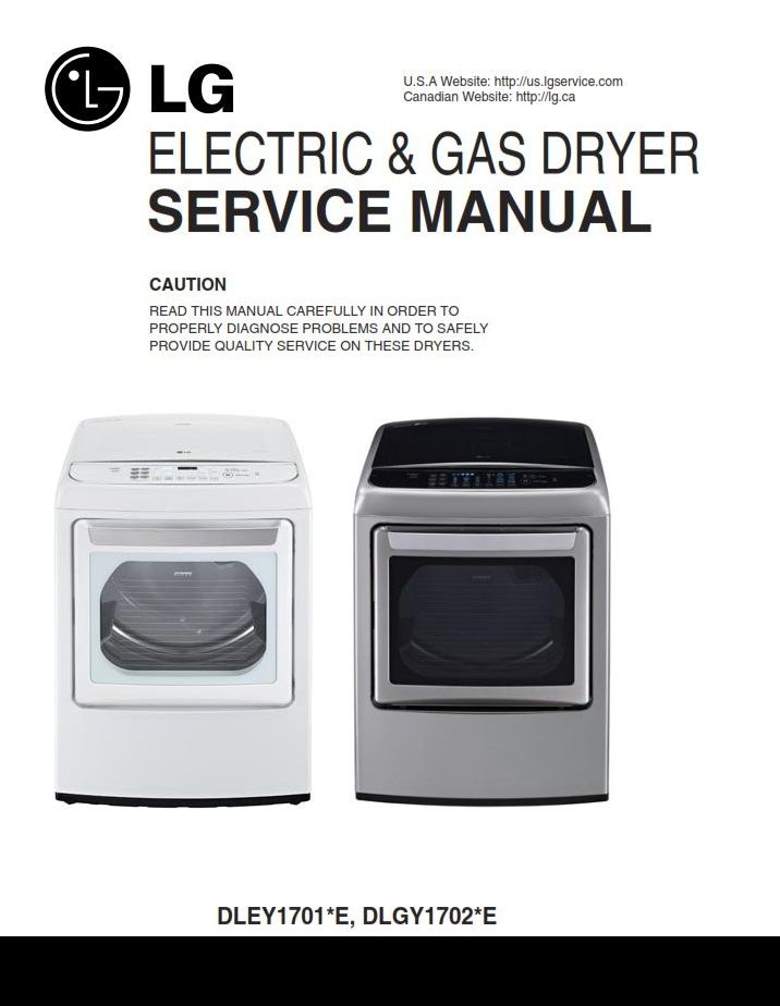 Lg Dlgy1702v Dlgy1702w Gas Dryer Service Manual And Repair Guide Repair Guide Gas Dryer Disassembly