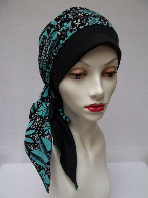 Bandana No Tie Head Scarf Black Teal Stretchy Cotton Polyester Chemo Head Covering.  Most bandanas are meant to be folded over in an exact triangle before tying on your head. This doesn't always work for anyone needing full coverage at the back of their head because there is always an area on either side of the tied area that you have to fuss with to cover the back of your head.