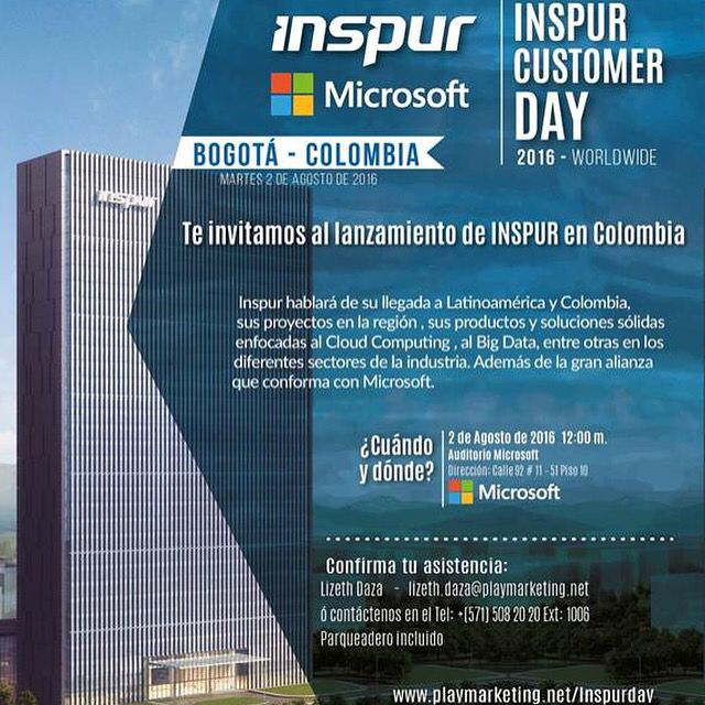 Primer Customer Day Inspur Latinoamérica @inspurCorp @MSFTColombia #CiudadesInteligentes #cloudcomputing @enter.co