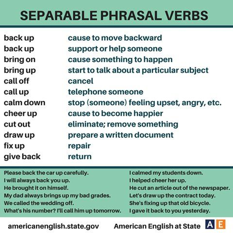 Commonly used separable phrasal verbs #learnenglish