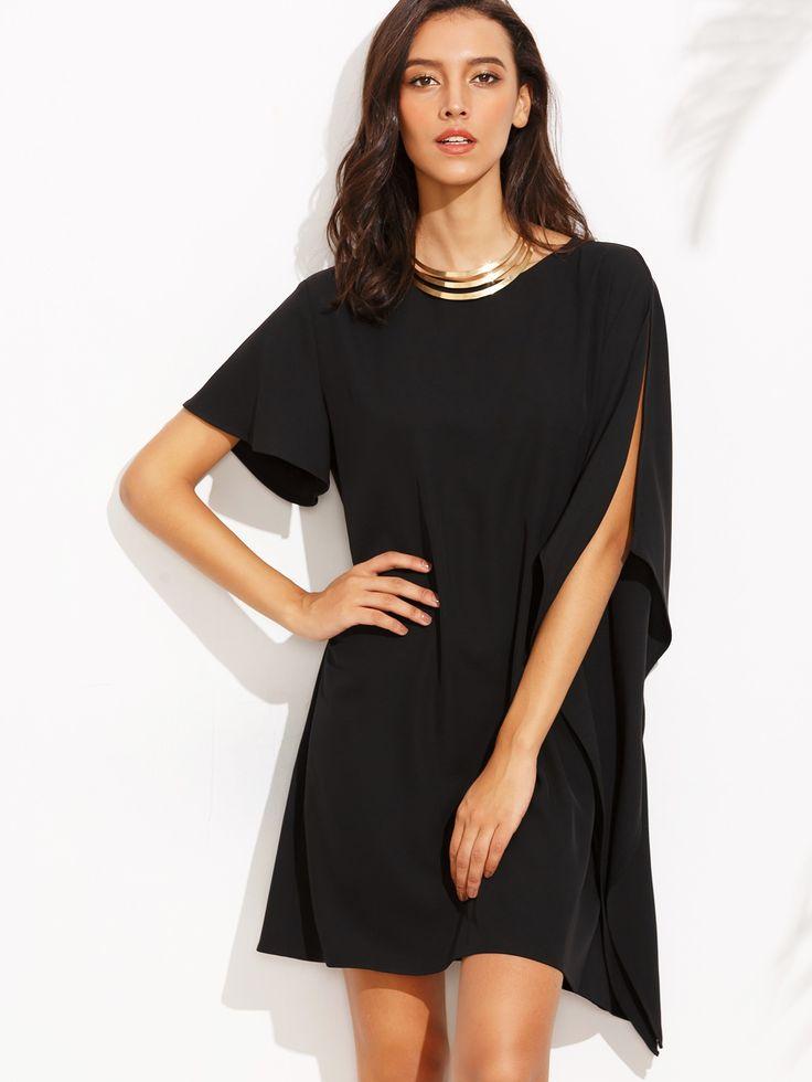 Asymmetrisches Kleid 2017 mit Rundhals Ausschnitt in Schwarz