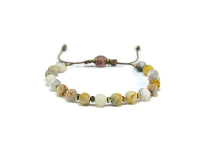 Boho Zoe * Agate & Hematite Boho Style Pull - Tie Bracelet