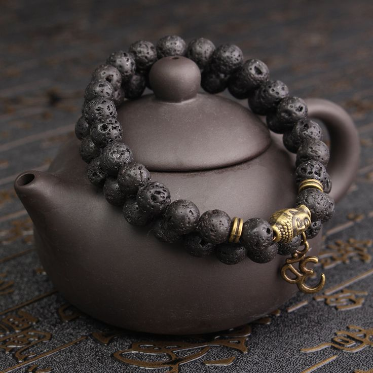 8mm Lava Stone Buddha Lucky Beads Elastic Bracelet Bangle Chain at Banggood