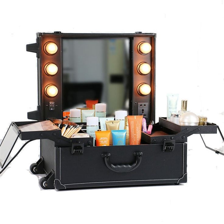 Luxury Professional Lighted Mirrored Large-Capacity Quality Trolley Travel Makeup Trolley Case