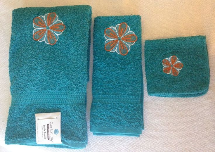 Turquoise Bath Towel Set Orange And White Embroidered