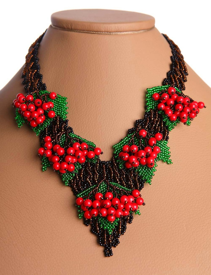 Traditional Ukrainian Jewelry Beads Beaded Necklace Large Red Guelder Rose 3D Handmade. $58.50, via Etsy.