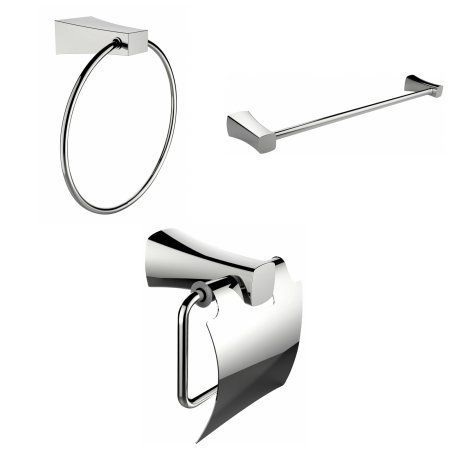 Modern Towel Ring, Single Rod Towel Rack And Toilet Paper Holder Accessory Set, Silver