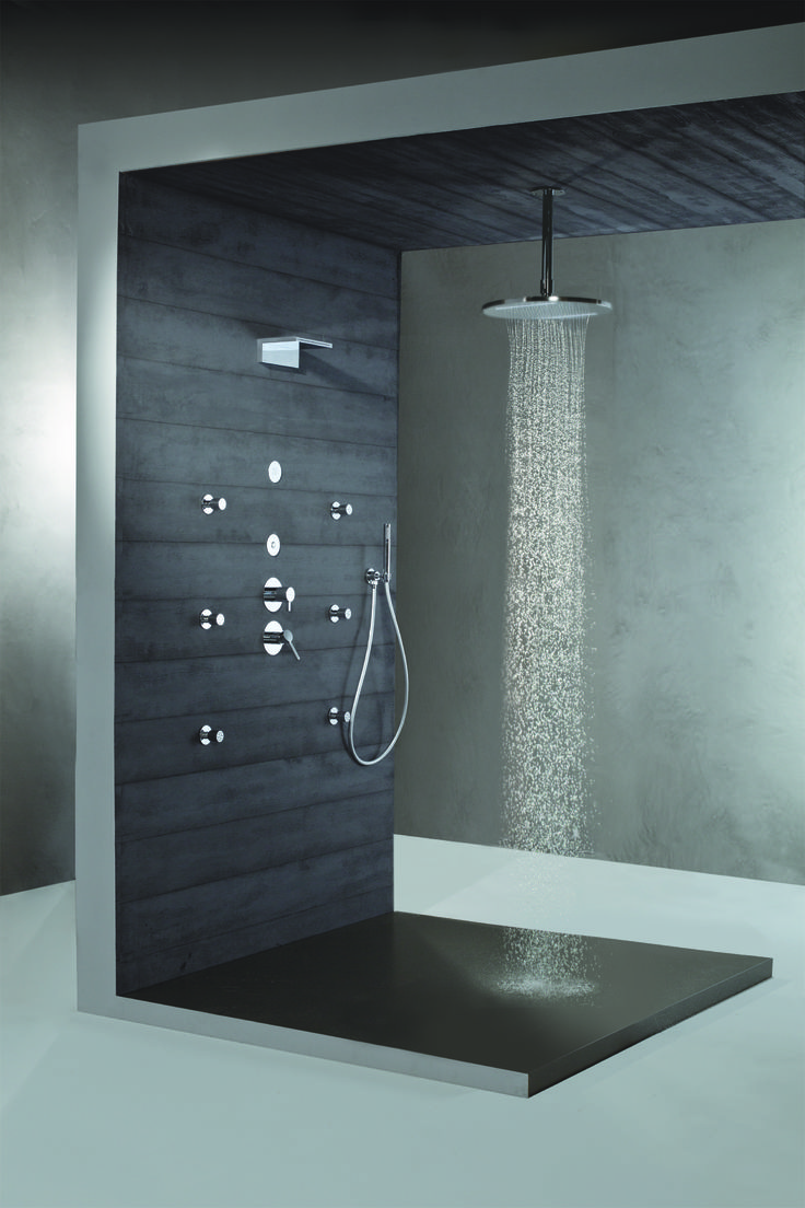 Luxurious Walk In Shower Ideas With White Color Pebble Shower Floor Added  Glass Divider Shower Room As Well As White Marble Wall Ideas As Decorate In  Modern ...