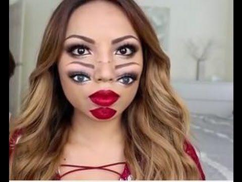 Мастер класс. Самый страшный макияж-двойное лицо/ Макияж для Хеллоуин,тематической вечеринки/Макияж для Нового Года. Теперь Вы можете сами применить все урок...