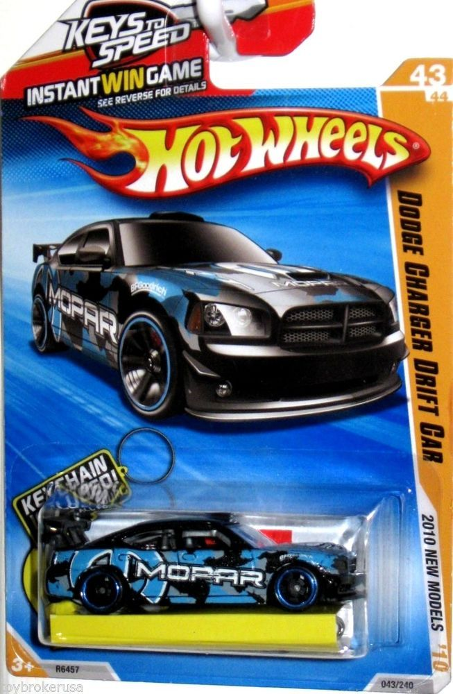 Dodge Charger Drift Hot Wheels 2010 New Models #43/44 Black w/Promo Key Chain #HotWheels #Dodge