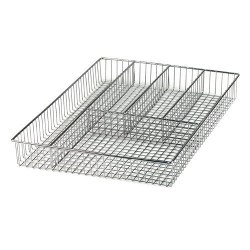 Spectrum 53170 Large Grid Flatware Tray, Chrome by Spectrum. $15.99. 5 sensibly shaped compartments fit a multitude of tools. Measures 12-1/2 inch by 9-1/2 inch by 2 inch; Chrome finish. Contemporary styling. Hand washing recommended. Space-efficient flatware organizer. Durably designed, this attractive in-drawer flatare tray features sturdy steel-mesh construction. Its five sensibly shaped compartments fit a multitude of tools while maximizing drawer space. The tray ...