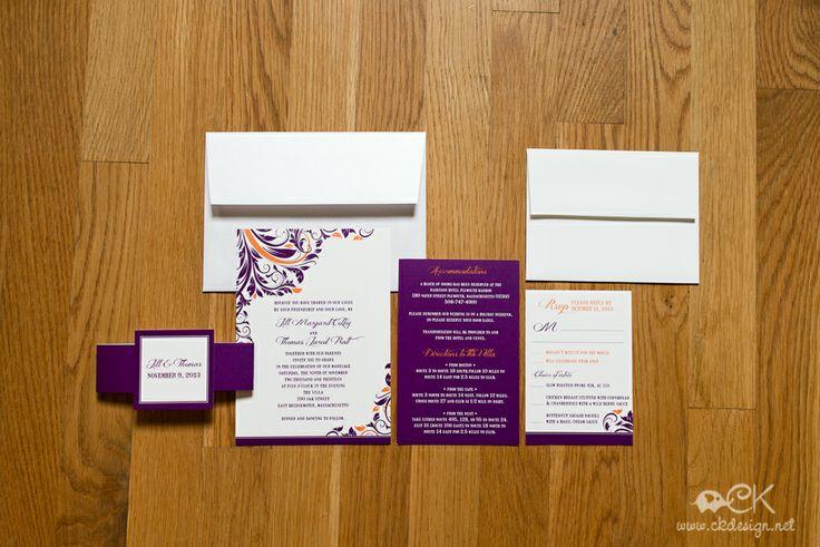 Purple  Orange fall wedding invitations. Found these on http://ckdesign.net/bridal/gallery/wedding-invitations/
