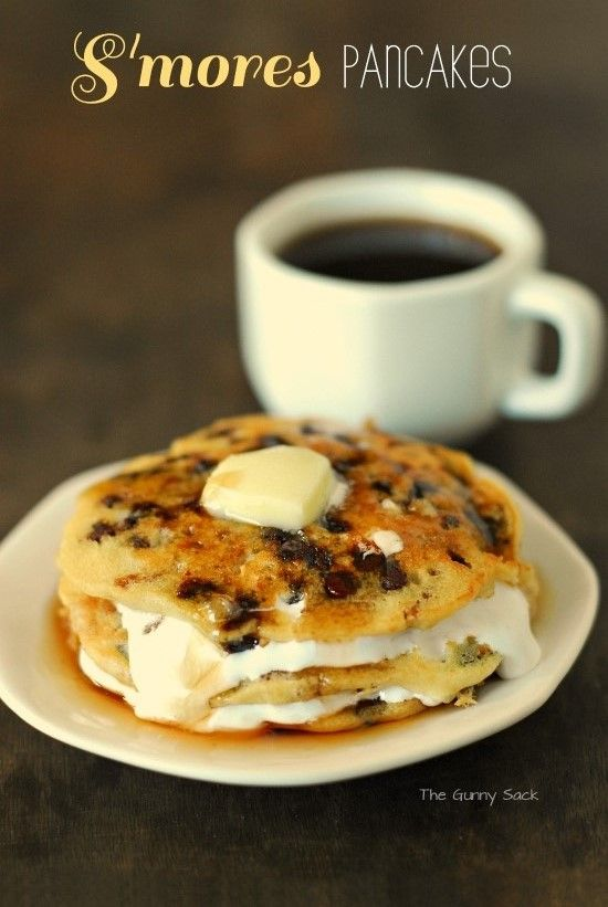"""S'mores Pancakes Recipe - must try this and adjust as needed for gluten green options. Sounds like a yummy """"once in a blue moon"""" breakfast"""