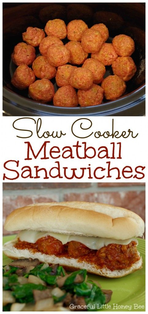 See how to make these easy and delicious Slow Cooker Meatball Sandwiches on gracefullittlehoneybee.com