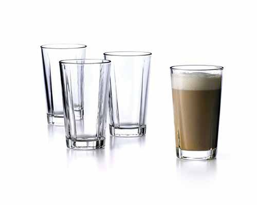"""Rosendahl Grand Cru Cafe Glass - Set of 4 by Rosendahl. $48.00. Tolerates heat up to 212 F. Heat resistant glass. 6.3"""" h. 12.5 oz. Sold in a gift box. The Grand Cru Café Glass, designed by Erik Bagger, bears a strong family resemblance to the functional and simple tumblers. The café glass, that contains 37 cl, is made of heat-resistant glass that tolerates hot liquids up to 212 degrees F. This makes the café glass ideal for latte, tea and hot chocolate, but it is also ..."""