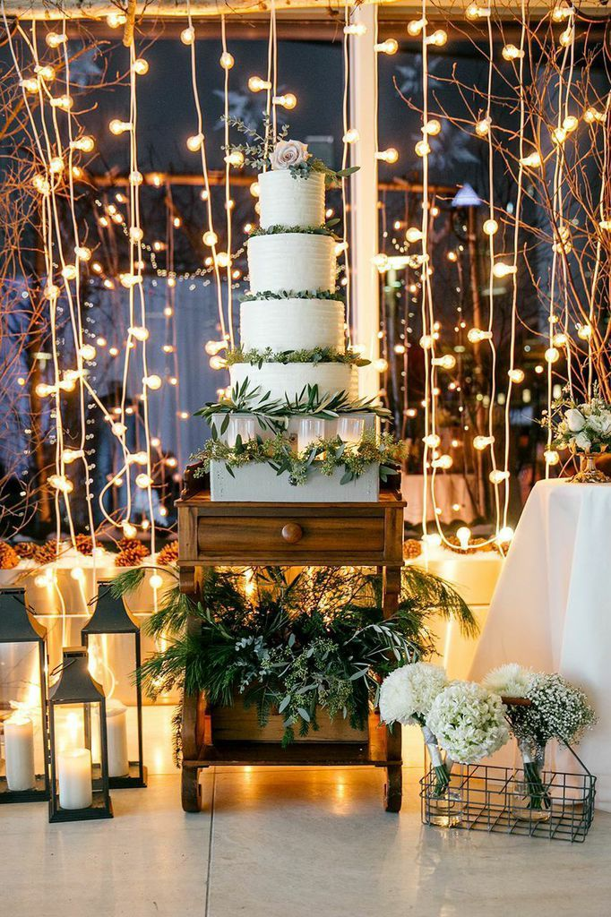 Twinkling Philadelphia Wedding at the Circa Centre Atrium from Emily Wren Photography - wedding cake table idea