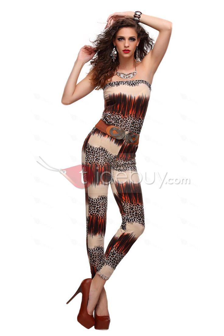 優雅な背中出し印刷ストラップレスジャンプスーツ
