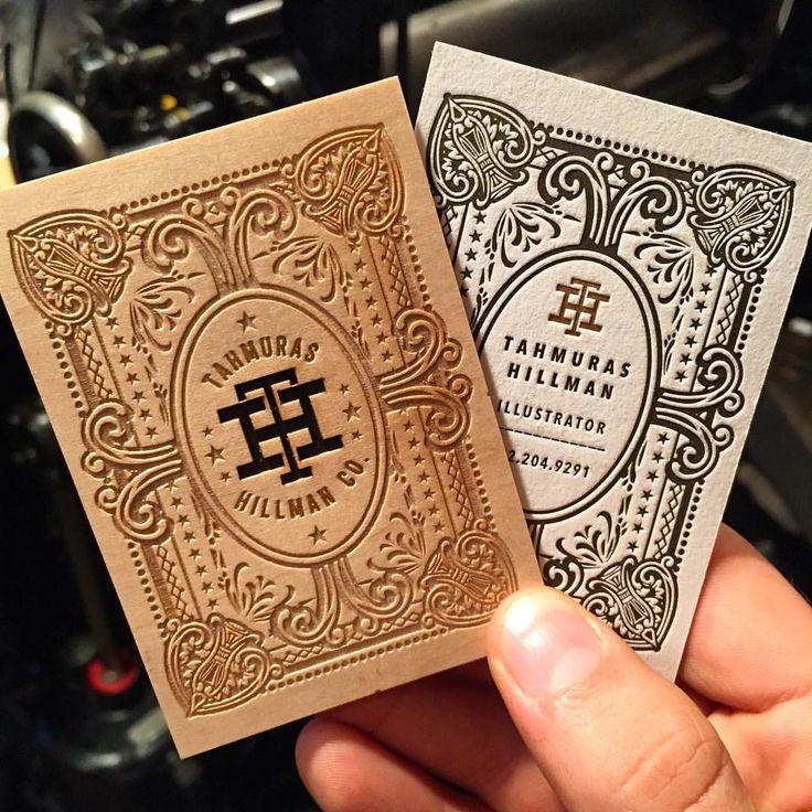 3ply wooden business card with Letterpress, Laser Etching, Laser Cutting and Foil Stamping | Printer: Jukebox Print #letterpress #businesscards #design #lasercut #jukeboxprint