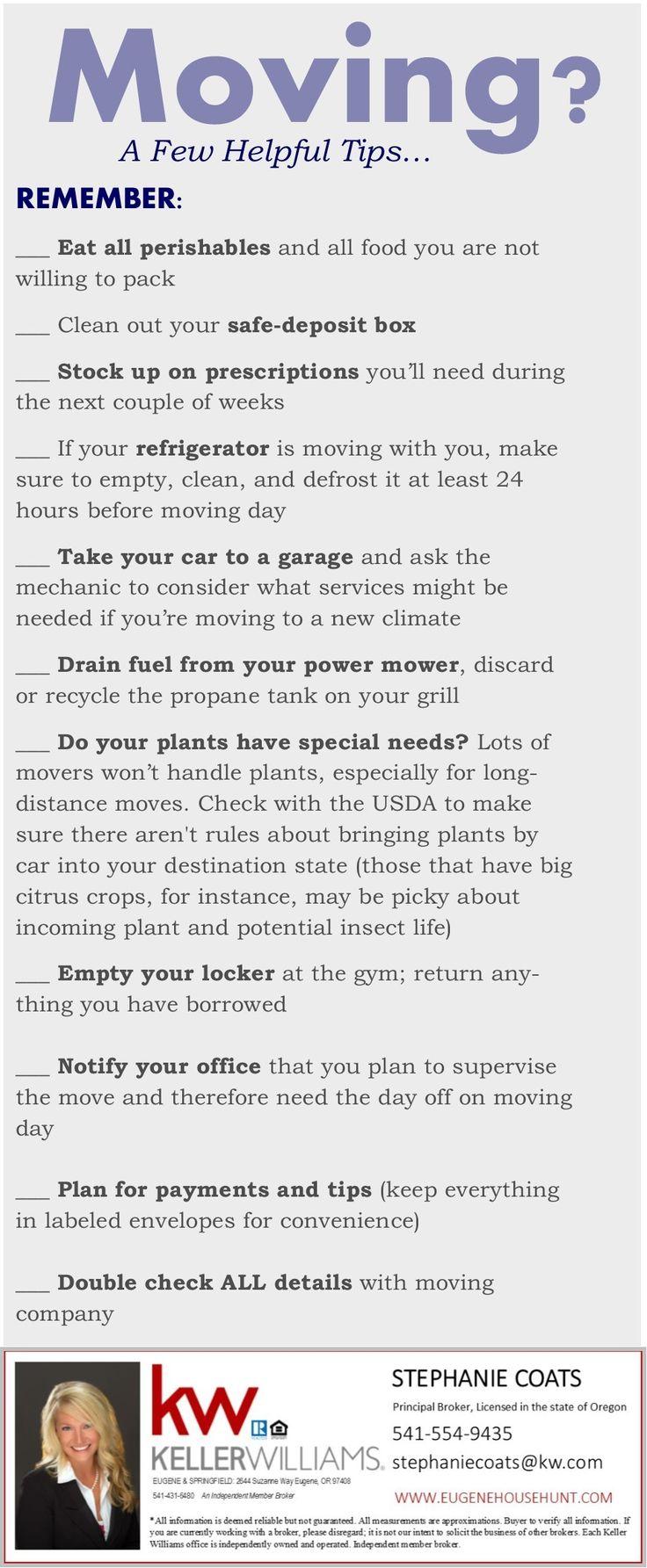 A few helpful tips courtesy of the stephanie coats team eugene home group