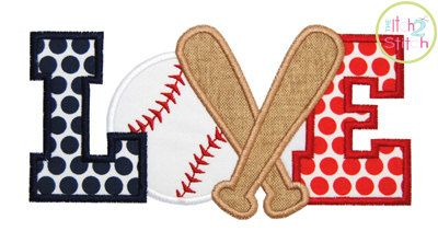 Baseball or Softball Love 3 Applique Design For by TheItch2Stitch