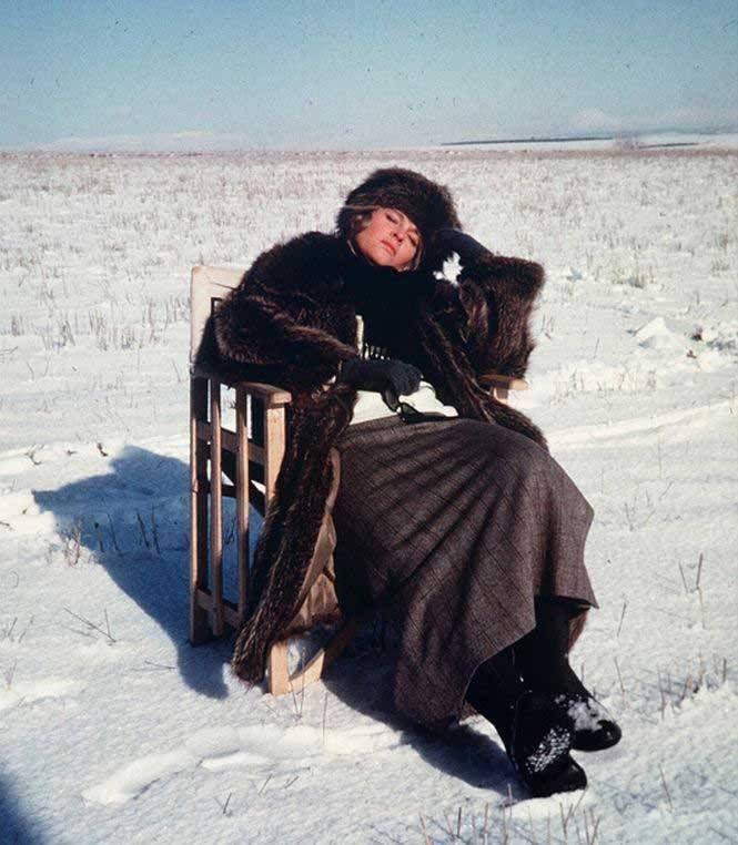 "Julie Christie taking a break on the set of ""Doctor Zhivago"""
