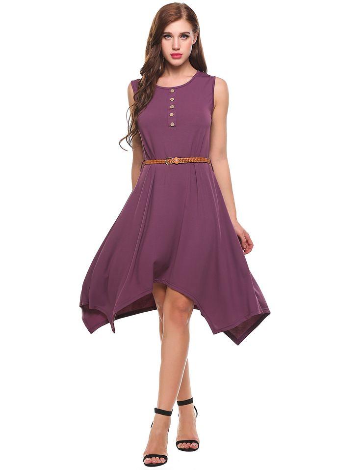 Purple O-Neck Sleeveless A-Line Asymmetrical Hem Elastic Casual Dress dresslink.com