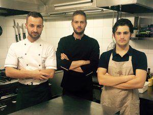 Emiliano ( centre ) Founder / Chef L'Antica Bottega restaurant Fara Sabina and his team. www.tastetrailsrome.com