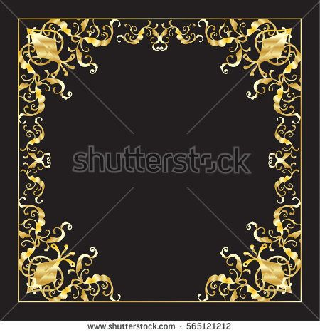 Decorative Gold frame for Happy Purim festival greeting card, invitation, anniversary, advertising. Oriental ornament Jewish Holiday poster ornamental frame, festive decoration Vector Ornament Vintage