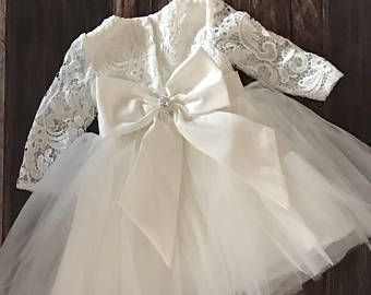 Couture Lace Baby Girl Baptism Dress or Flower Girl Dress /