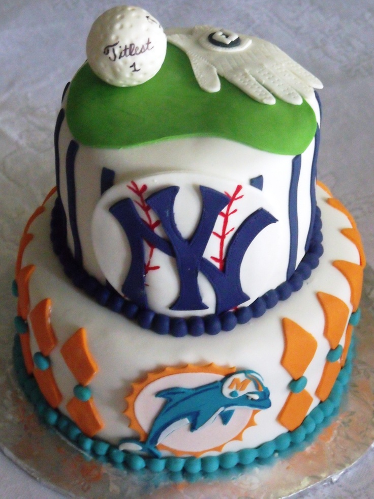 """Birthday cake for my """"son"""" who loves Miami dolphins, NY Yankees and golf"""