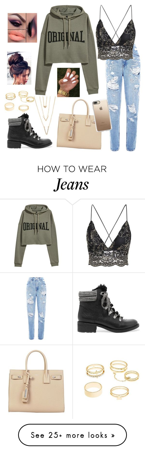 """Mom Jeans"" by zi-and-astro on Polyvore featuring Yves Saint Laurent, Sam Edelman, Charlotte Russe, SHAN and Casetify"
