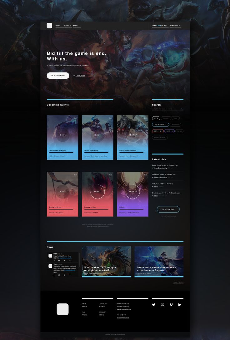 I am a fan of League of Legends and decided to design concept for esports website. Digital artworks which appear as a backgrounds came from fan arts of leagueoflegends.com.This is UX concept for betting. Interaction is going to be developed and tested s…