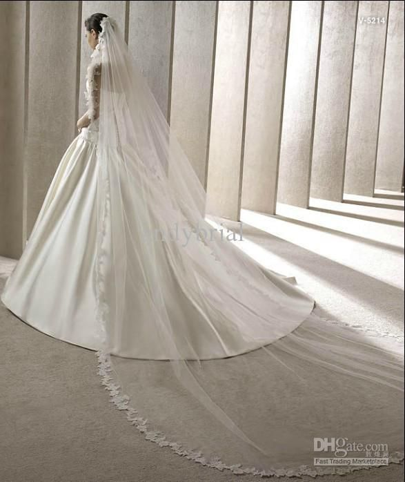 Wholesale - 2012 New Design For Wedding Bride Lace Edged Cathedral Train Wedding Veils Net Bridal Veils, Free shipping, $32.70-41.68/Piece, 1 piece/Lot | DHgate.com