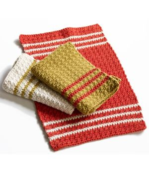Free Crochet Pattern 80704AD Dorothea Dishtowels : Lion Brand Yarn Company