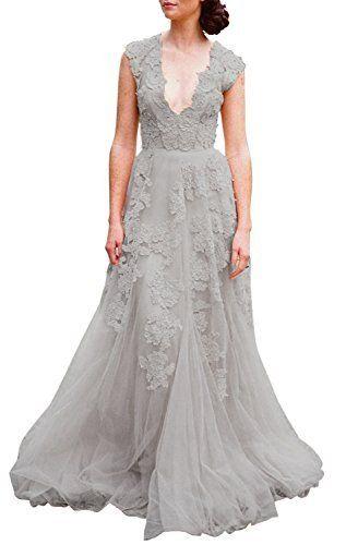 d86c784fc1d Ruolai Asa Bridal Women s Vintage Cap Sleeve Lace Wedding Dress A Line Evening  Gown Light Grey 6