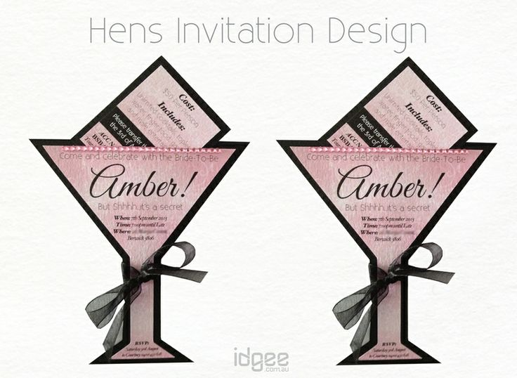 Cocktail glass invitations, Wedding invitations, name cards, service booklets, birthday, hens, and more. Digital invita...