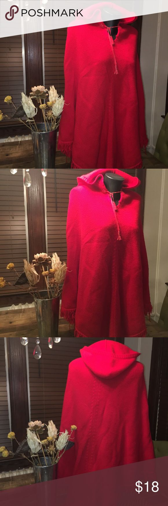 💥Benetton Red Wool Hooded Poncho Bright Red Wool Poncho. Great item for any closet. Slight rip in the front chest shown in pictures. Easy fix. No other issues. United Colors Of Benetton Jackets & Coats Capes