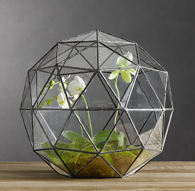 Loving this bold geometric terrarium, would love two small ones on my windowsill.