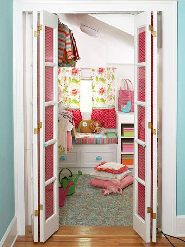 41. Doesn't every kid love to play in the closet?! The pinks and blues and other bright colors make this a wonderful place, and you can't help but feel happy when you are in this space. It's functional and just plain fun.