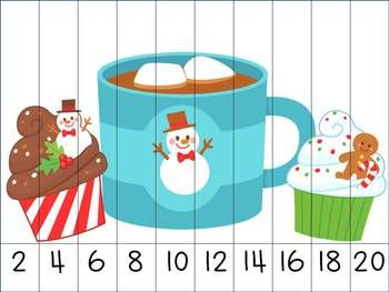 Christmas Skip Counting Puzzles. $