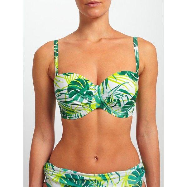 John Lewis Llenya Leaf Multiway Bikini Top, White/Green ($41) ❤ liked on Polyvore featuring swimwear, bikinis, bikini tops, bandeau tankini top, green bikini, white bandeau bikini top, scrunch bikini and full coverage bikini