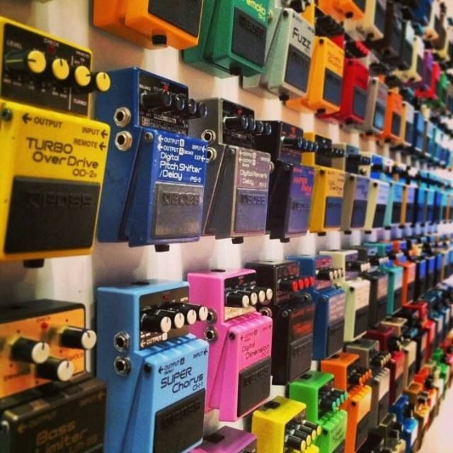 The Sound ZOO / Music store: Rainbow of BOSS Effects Pedals for guitars, amps, and-- with imagination and willingness to experiment- other amplified instruments including electric violin. - cSw:) - http://www.pinterest.com/claxtonw/music-studio-stuff/ - MUSIC STUDIO STUFF. Pinned via AdiBoss.