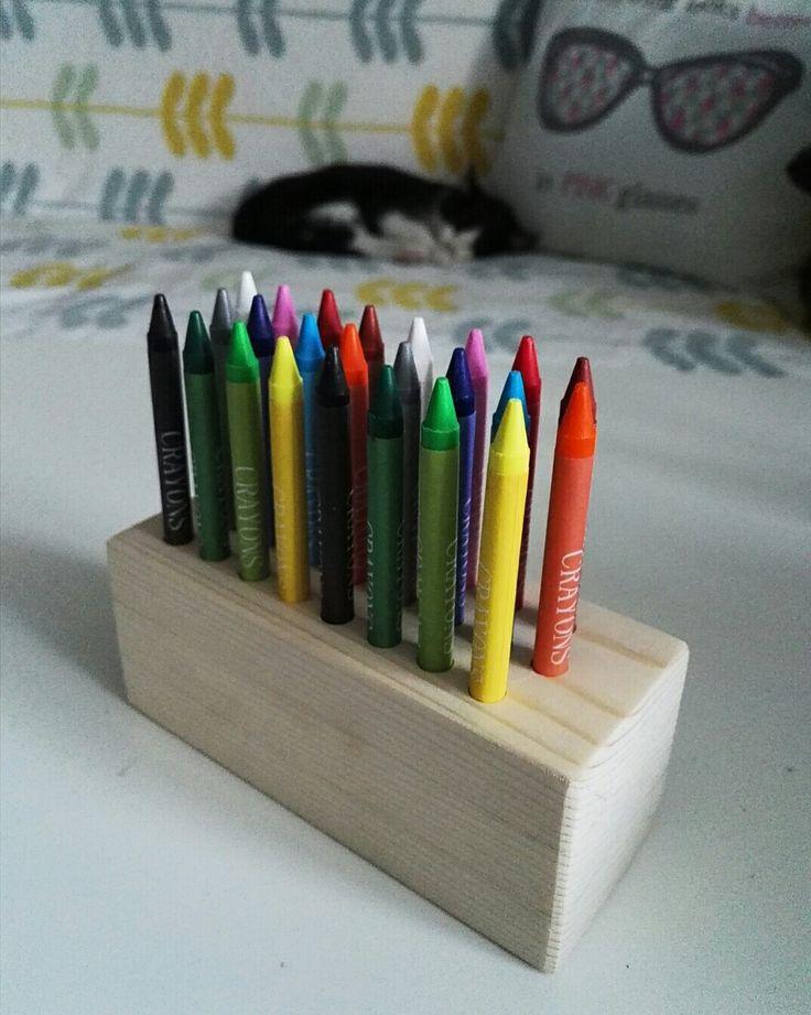 Crayons holder handmade diy wood