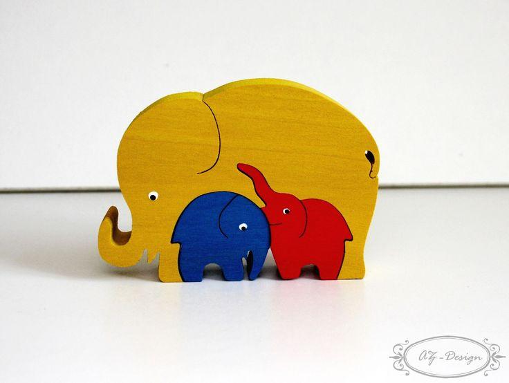 Puzzle en bois, éléphant jaune, famille, safari, jouet enfant : Jeux, jouets par az-design