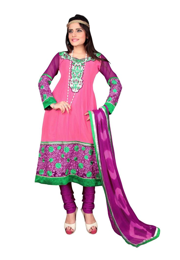 Light Pink Colored #Faux Georgette Embroidered Semi-Stitched #Salwar Suit Time has come to bring some vibrancy to your attire to get spotting persona in a special occasion. This light pink colored party wear suit has most demanding faux georgette on its top and santoon inner & bottom with georgette dupatta.  @aimdeals
