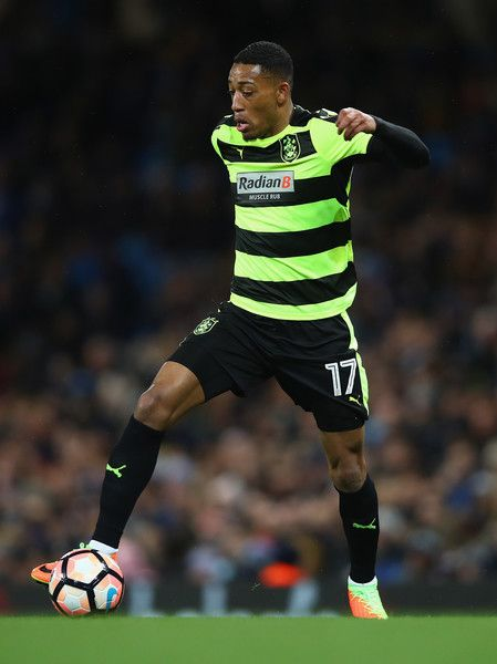 Rajiv van La Parra of Huddersfield Town in action during the The Emirates FA Cup Fifth Round replay match between Manchester City  and Huddersfield Town at Etihad Stadium on March 1, 2017 in Manchester, England.